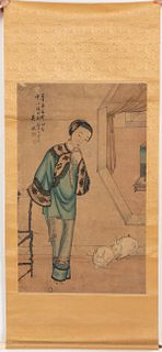 Chinese Hanging Scroll, Courtesan and Rabbit