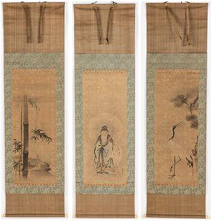 3 Japanese Hanging Scrolls by Kano Kyuseki, 18th C