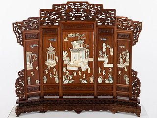 Chinese Late Ching Hardwood & Ivory Table Screen