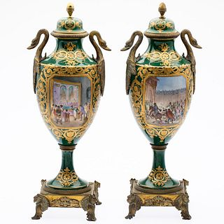 Pair of Sevres Style Porcelain Urns, 19th C