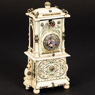 Austrian Ivory, Enamel & Jeweled Table Clock, 19th C