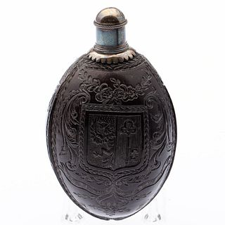 European Carved Coconut Flask, 18th Century