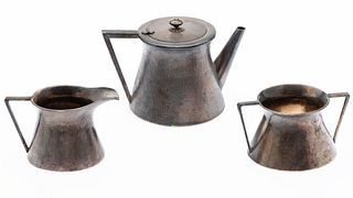 Japanese Hammered Silver Teapot, Cream, and Sugar