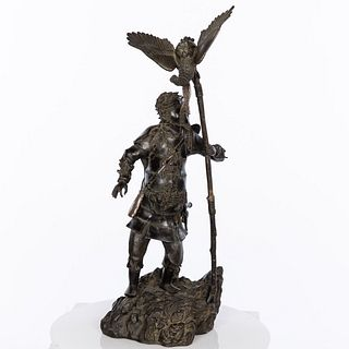 Japanese Bronze of a Warrior with Hawk