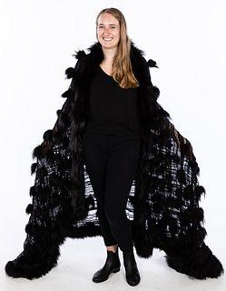 Fendi Silk and Fox Fur Stole