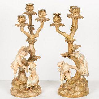 Pair Royal Worcester Hadley Porcelain Candelabra