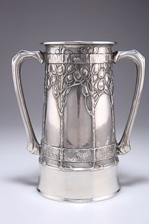 DAVID VEASEY FOR LIBERTY & CO, A TUDRIC PEWTER LOVING CUP, no. 010, of two-