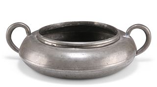 A GEORGE III PEWTER TWO-HANDLED SPITTOON,by Stynt Duncumbe of Bewdley, Lon