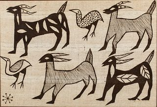 Framed Textile with Goats and Birds