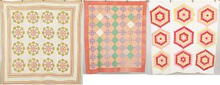 3 American Quilts, First Half 20th C