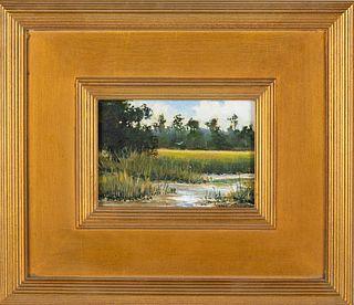 Mark Kelvin Horton, Marsh Landscape, Oil on Board