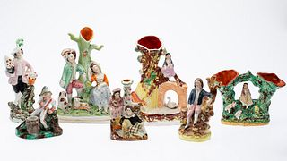 7 Staffordshire Figurines and Spill Vases
