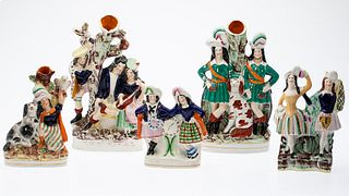 5 Staffordshire Figurines