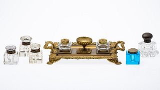 French Gilt Bronze Inkwell Set & 5 Other Inkwells