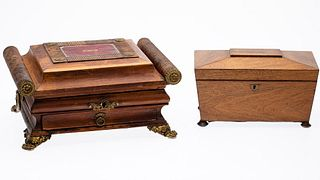 English Rosewood Tea Caddy and Jewelry Box, 19th C