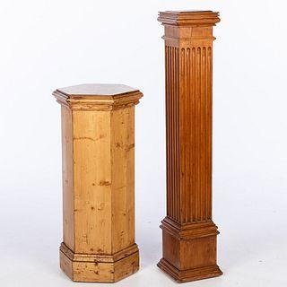 Two English Pine Pedestals