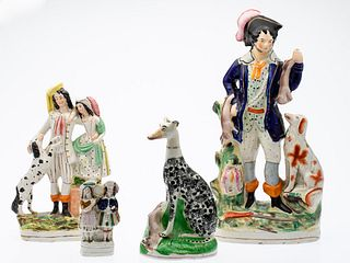 4 Pieces of English Staffordshire, 19th Century