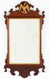 Small Mahogany Chippendale Style Mirror, 19th C
