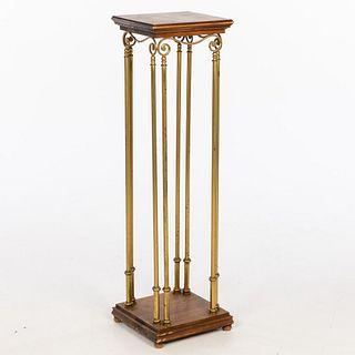 Brass and Walnut Pedestal