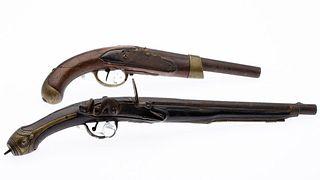 Two Continental Black Powder Percussion Pistols