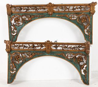 Pair of Continental Carved Wood and Gilt Valances
