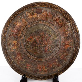 Persian Painted Brass Tray, 19th Century