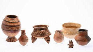 6 Pre-Columbian Ceramic Pots and an Animal