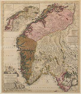 Frederick de Witt, Norvegia Regnum Map, c. 1696