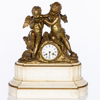 French Gilt Bronze & Marble Clock with Putti, 19th C