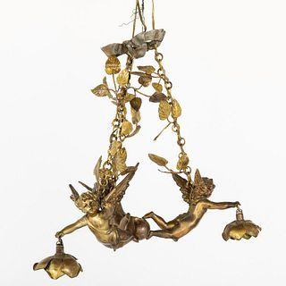 Gilt Metal Three-Light Chandelier, 19th Century