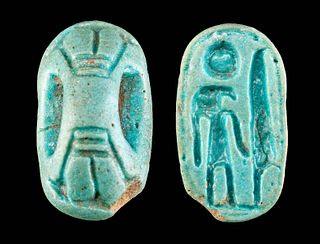 Egyptian Faience Stamp Seal w/ Fly Handle
