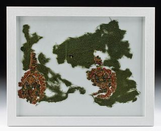 Framed 5th C. Egyptian Coptic Textile Fragments