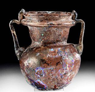 Roman Glass Jar w/ Trailed Handles Aubergine