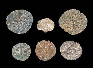 6 Medieval European Copper & Billon Coins
