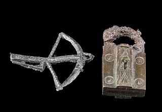 Medieval English Pewter Livery Badges + Brass Lock