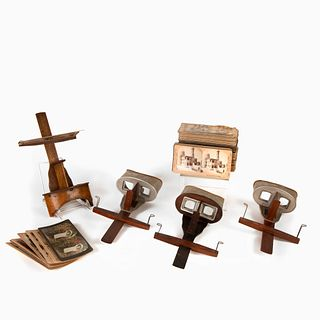 Four Stereoviews with 110 Stereograph Cards