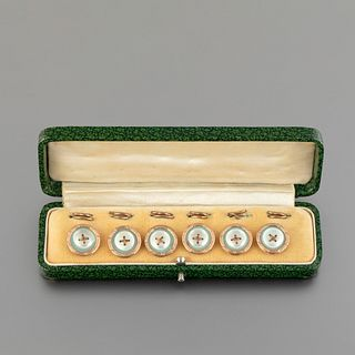 Set of French Gilt Brass and Pink Gold Studs, ca. 1920