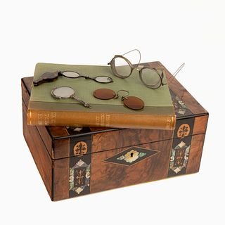 Inlaid Marquetry Box with Twenty-Eight Pairs of Antique Eyeglasses