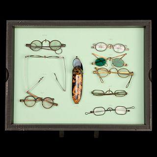 Group of Nine Pairs of Antique Eyeglasses, ca. 1730-1860