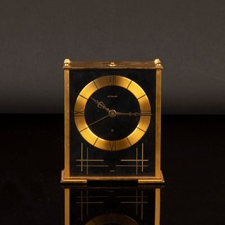 Jaeger LeCoultre, Gilt Metal Desk Clock with Alarm and Music, ca. 1970