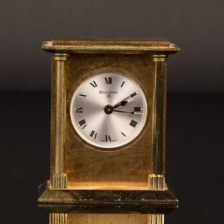 Bulova, Gilt Brass Eight Day Clock with Alarm, ca. 1980