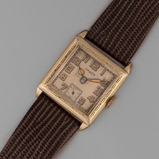Gruen, Rolled Gold Square Wristwatch with Radium Dial, ca. 1945