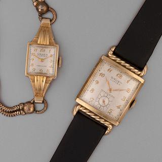 Gruen, Pair of Gold Filled Curvex Precision Wristwatches, ca. 1950
