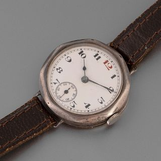 Arthur George Rendell, Silver Cased Trench Wristwatch with Enamel Dial, ca. 1915