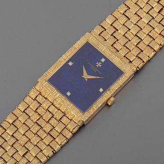 Vacheron & Constantin, Yellow Gold Basket Weave Bracelet Watch with Lapis Lazuli Dial, ca. 1975