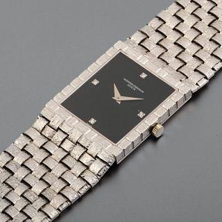 Vacheron & Constantin, White Gold Basket Weave Bracelet Watch with Onyx Dial, ca. 1975