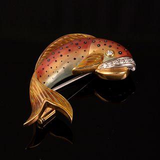 Leo Pizzo, Gold, Enamel and Diamond Pin