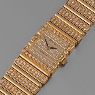 Piaget, Yellow Gold and Diamond C 725 Polo Bracelet Watch, ca. 1985