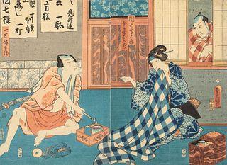 Utagawa Kunisada, Woodblock Diptych