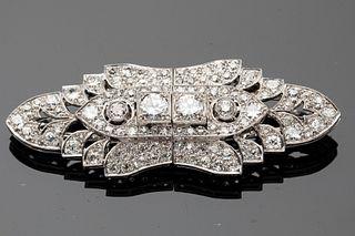 Pair of Art Deco Platinum and Diamond Dress Clips